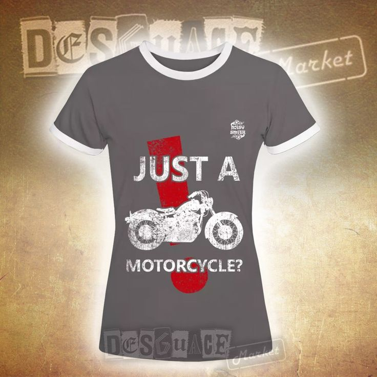 Camiseta para mujeres Noisy Smith Just a Motorcycle de ligero entallado con cuello redondo y mangas de color de contraste, 100% algodón.