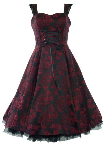 cute summer dress, short, black and red, goth