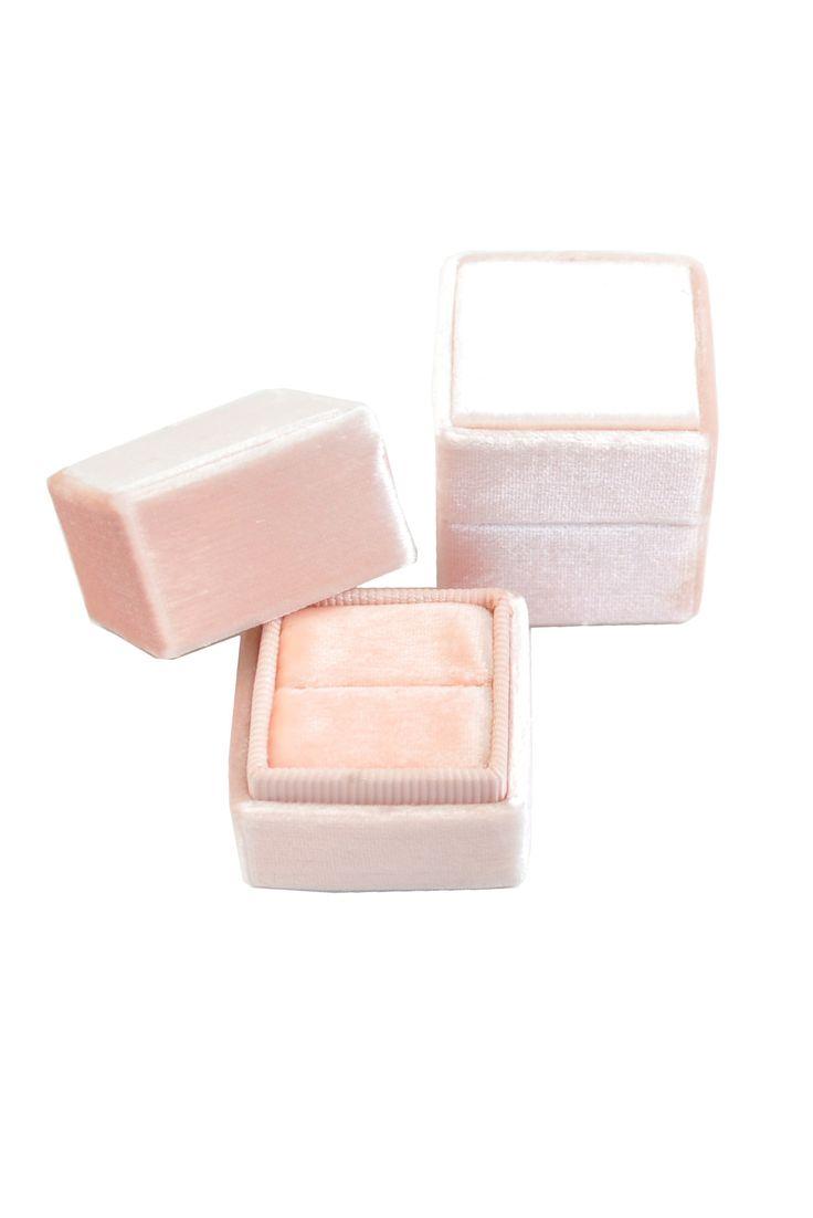 __Soft Pink__The Mrs Box Vintage Velvet Ring Box