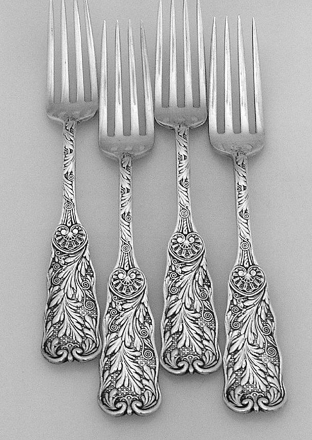 Antique Silver Patterns Part - 40: Saint Cloud Dinner Forks Sterling Silver Gorham 1885 My Pattern!