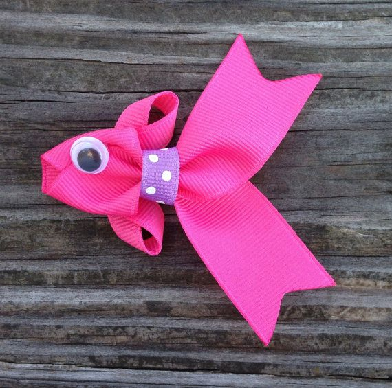 Hot Pink Tropical Fish Ribbon Sculpture Hair Clip - Toddler Hair Clips - Girls Hair Accessories... Free Shipping Promo