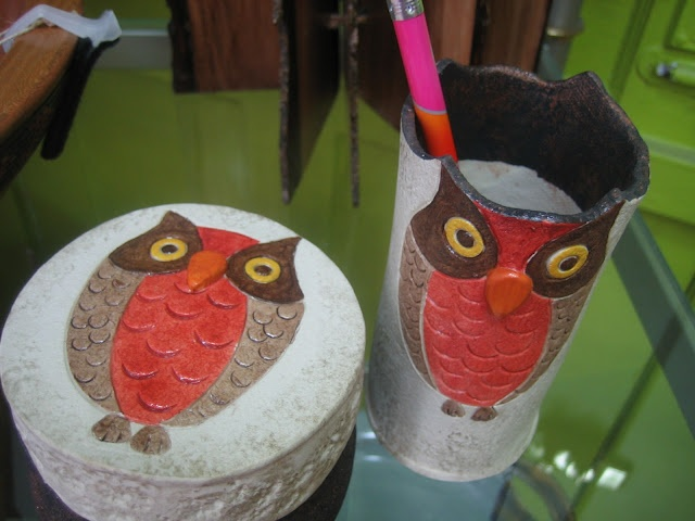 Textures:a combined effort of area artisansa.k.a. Textures Craftworks  -ceramic owl pencil holder and treasure box, each - $8.95