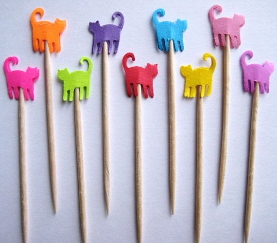 24 Mixed Brights Mini Cats Party Picks by ThePrettyPaperShop, $4.99