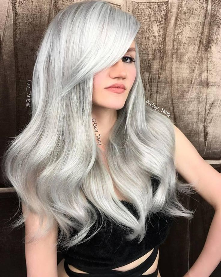 Icy hair color by Guy Tang! On level 10 hair, he used #KenraColor 8SM and 10SM. #MetallicObsession