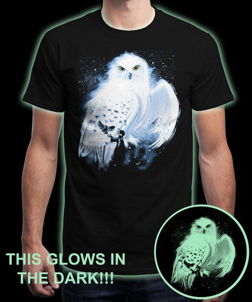 """Mail by Owl - Glows in the Dark"" is today's £9/€11/$12 tee for 24 hours only on www.Qwertee.com Pin this for a chance to win a FREE TEE this weekend. Follow us on pinterest.com/qwertee for a second! Thanks:)"