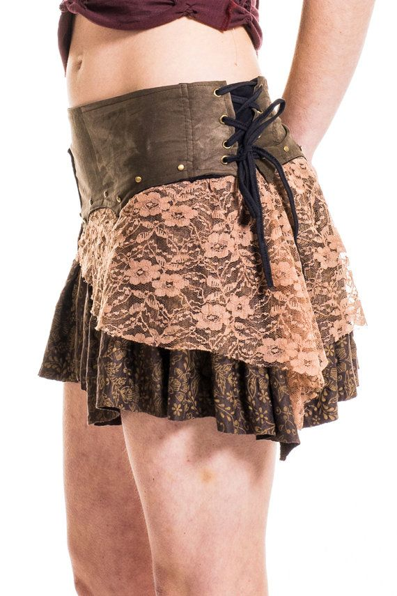 STEAMPUNK FESTIVAL SKIRT pixie skirt psy trance by AltshopUK