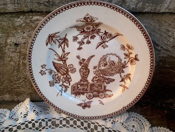 Antique Brown SIDE PLATE 7 5/8 Thomas by CottonCreekCottage