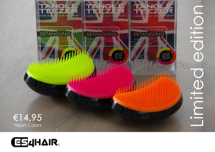 Nieuw bij Es4Hair! De limited edition Tangle Teezer Neon De ultime ontklittingsborstel door zijn unieke ontwerp Wees er snel bij Op=Op  #neontangleteezer #diewilikook #wow #nijverdal #gaaf