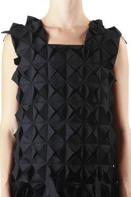 Fabric Manipulation - dress with folded patterns; sewing; textiles; origami fashion detail // Yohji Yamamoto Fall 2013