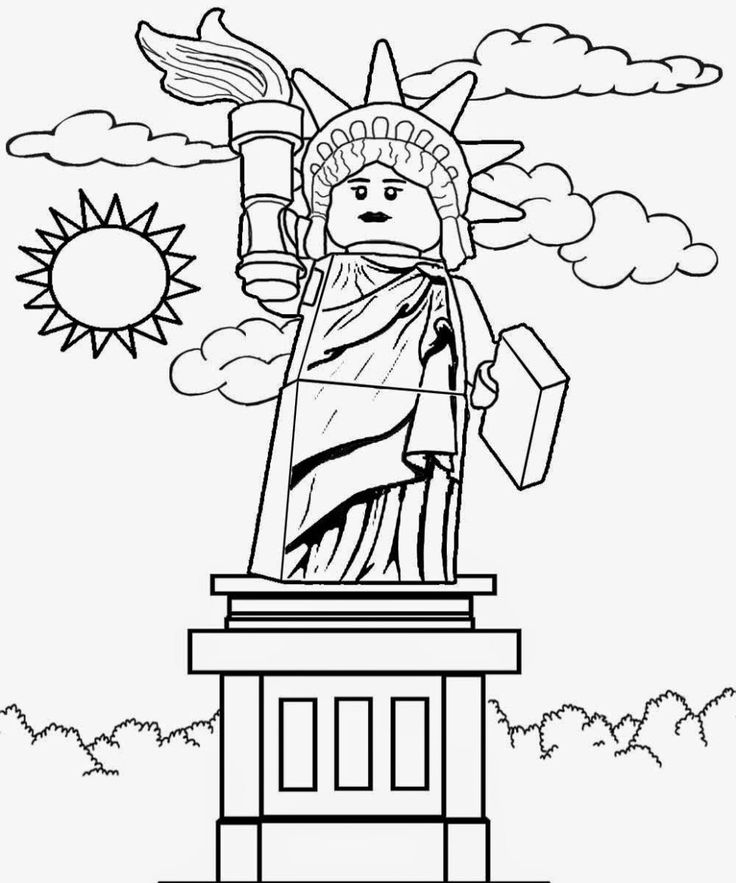 Lego Statue Of Liberty Coloring Page Lego Coloring Pages Lego Coloring Ninjago Coloring Pages