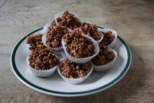 Chocolate Rice Krispie Cakes - made for Pudsey Day at St. Peter's School (recipe I used called for golden syrup; try this simpler one next time)