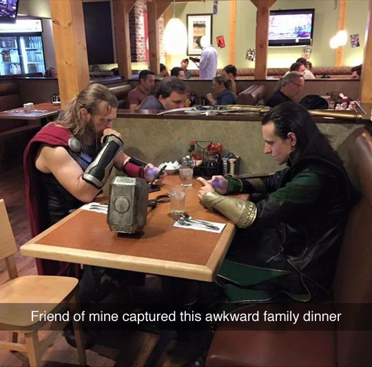 Wow. I'm not sure if I'm more impressed with the cosplays or with the fact that they're both using cell phones....<<>> Nice.
