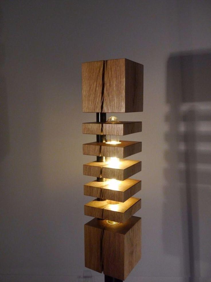 Stehlampe Aus Holz Eiche Rustikal Echtholz Led Lampe