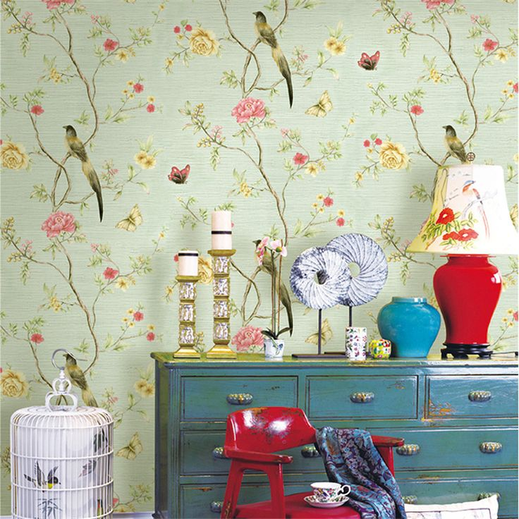 Cheap linen wallpaper, Buy Quality background wallpaper directly from China flower wallpaper Suppliers: beibehang Chinese flowers and birds pastoral flower wallpaper American living room bedroom background wallpaper linen wallpaper