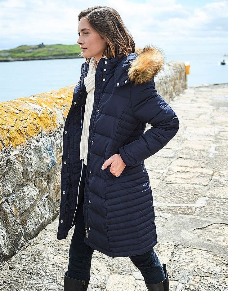 Buy our Women's Long Down Coat for £150 available in Navy at Crew Clothing. For more coats, jackets and gilets, visit Crew Clothing.