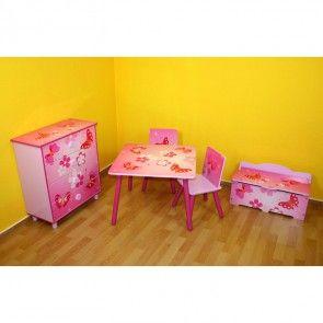 Kindersitzgruppe Schmetterling aus Tisch + 2 Stühlen milieu