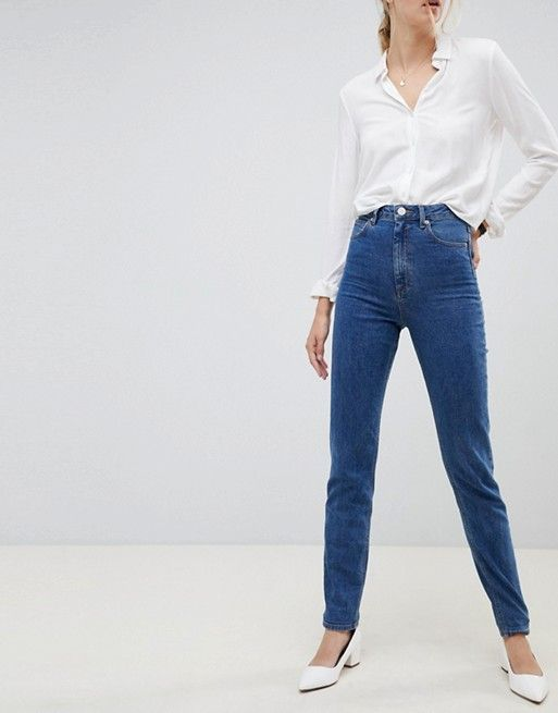 11549212880 ASOS Tall | ASOS DESIGN Tall Recycled Farleigh high waist slim mom jeans in  flat blue