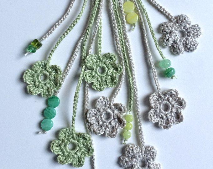 Largo de ganchillo collar de abalorios de flores tonos verdes