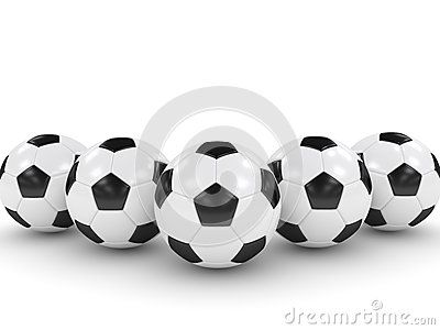 3d rendered soccer balls isolated over white background