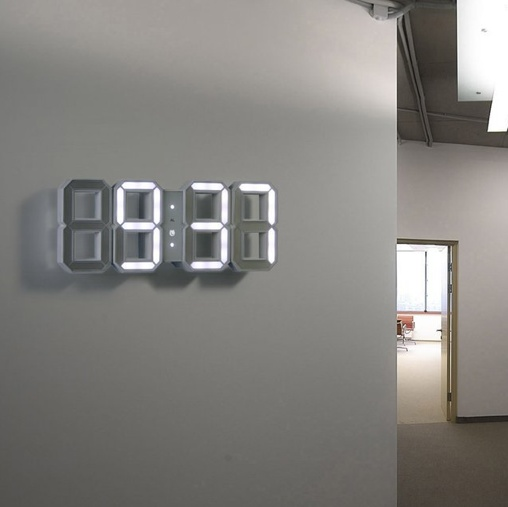 Awesome The White U0026 White Clock Designed By Vadim Kibardin Is A Modern  Interpretation Of The Traditional Digital Clock. Digital Wall/desk White  LED Clock With White ...