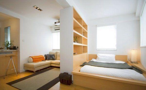 salon i sypialnia wydzielone z większej przestrzeni