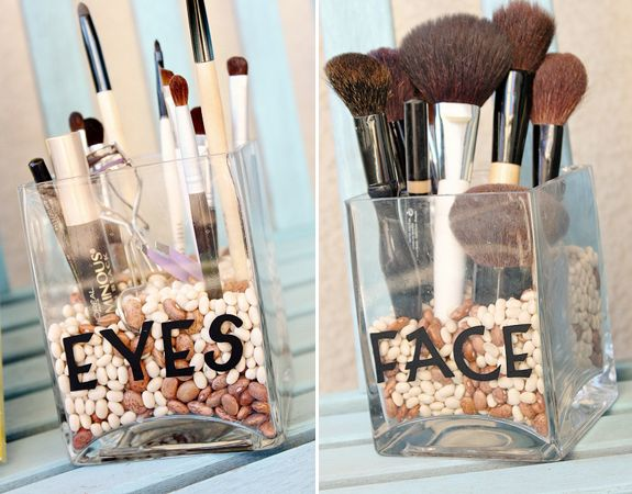 Seperate your makeup brushes by there uses. All the brushes you use for your eyes in one dish, lips another, etc.