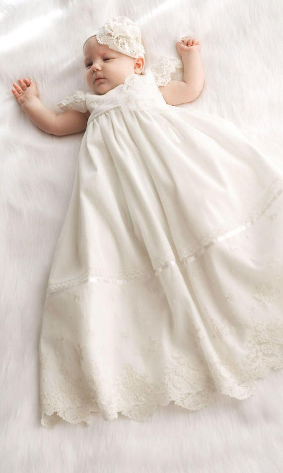 FAST INTERNATIONAL SHIPPING: 2-5 DAYS AVERAGE DELIVERY TIME WITH DHL or FedEx  Hand made and hand-finished baptism dress, so unique design guaranteed. The dress for baptism made of soft cotton batiste. Top dresses made of soft cotton lace with satin ribbons adorned. A dress could be