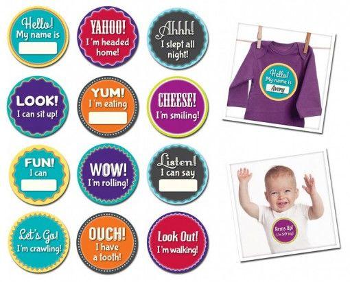 Sticky Bellies Milestone Momento's $12.95 - $15.95 www.pennyfarthingkids.com.au #pennyfarthingkids  #babies #Stickybellies