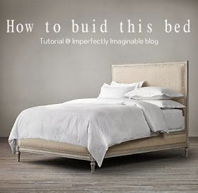 Imperfectly Imaginable : How to build a restoration hardware Maison inspired bed using ana white's platform base to start