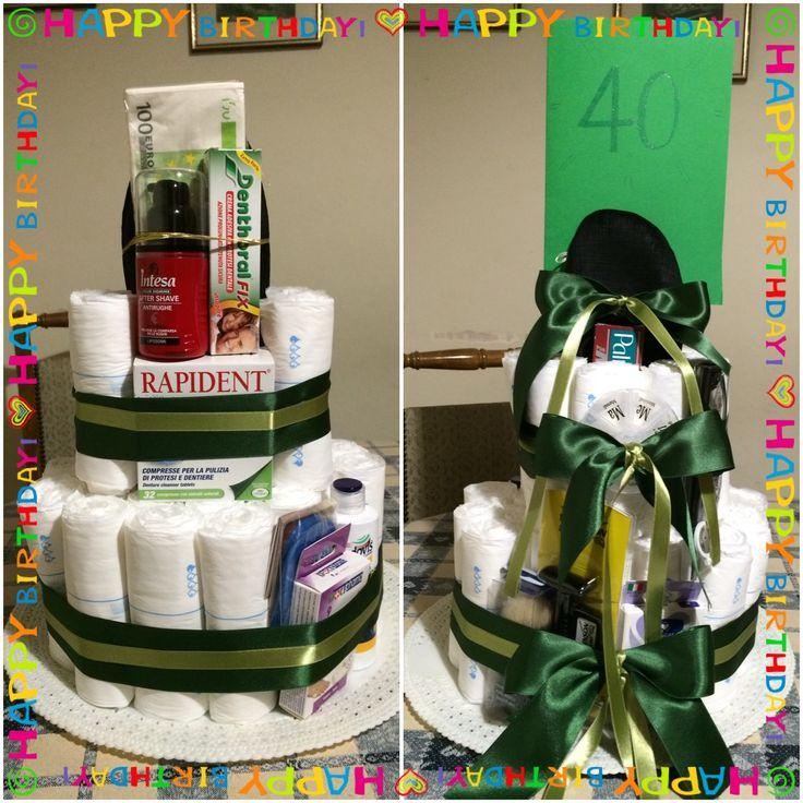 40th birthday diaper cake