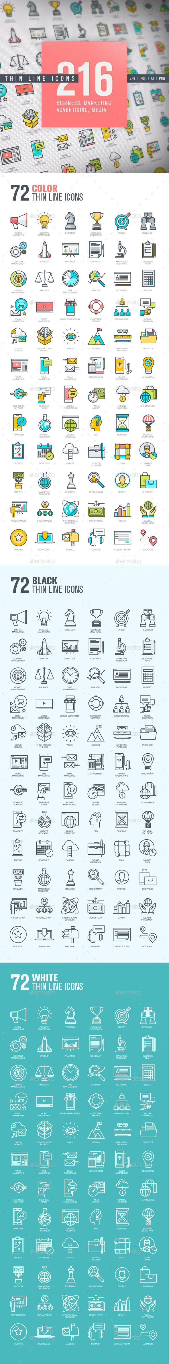 Set of Thin Line Icons for Business and Marketing   #startup #symbol #technology…