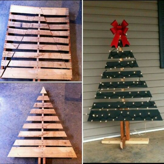 Christmas tree made from a shipping pallet!  Via facebook