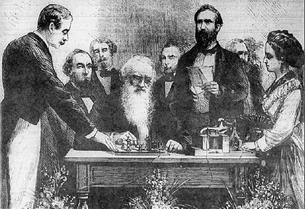 This is a public gathering in 1835 of a professor from New York University demonstrating exactly how Morse cord worked.  He proved that signals could be sent by wire.  It was done by him taking electromagnetic waves and deflecting the direction of the signals being traveled. This  ended up creating morse code as a way for people to be able to communicate with each other back and forth. Later Congress decided to put 30,000 dollars to fund an experimental telegraph that could go 40 miles.