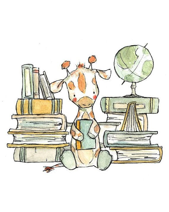 Childrens Art Bookish Giraffe 5x7 Art Print por trafalgarssquare, $10.00