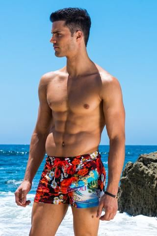 Sauvage Mens Swimwear -Mens swimwear is all about comfort and style. The Napoli print Retro Swim Trunks has four way stretch for maximum comfort. The swim trunks fit loosely around the leg and has soft mesh lining underneath. This is Sauvage's most popular fit. Adjustable ties at the waist holds the shorts in place. #mensswimwear