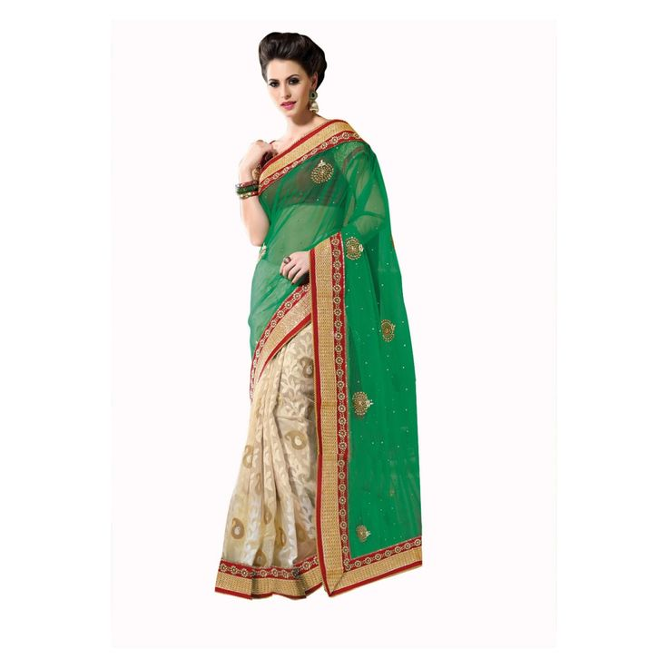 Green and Beige Net Designer #Saree With Blouse