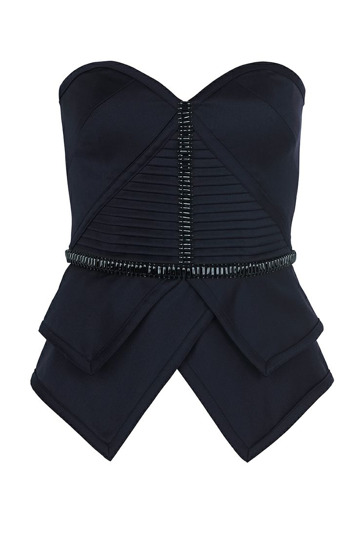 JUST LIKE THAT - structured fitted bustier with boning & hand beaded embellishment detailing on waist & centre front.  features tuck panels & back zip.