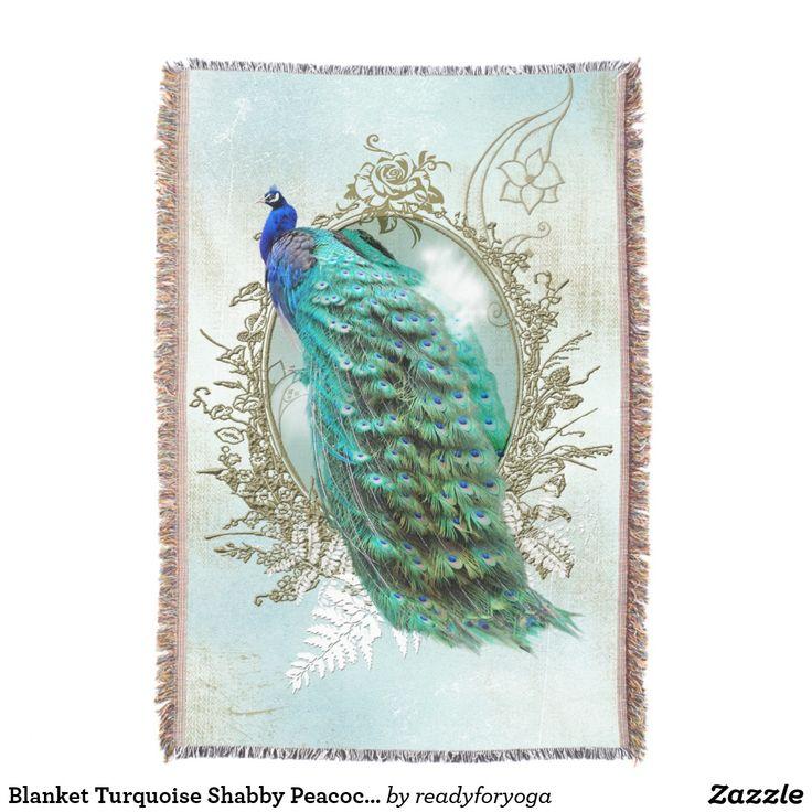 Blanket Turquoise Shabby Peacock vintage