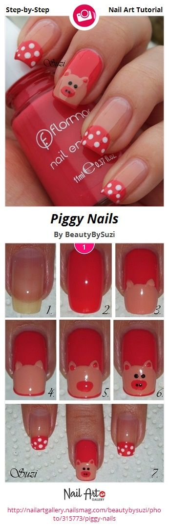 Piggy Nails by BeautyBySuzi - Nail Art Gallery Step-by-Step Tutorials nailartgallery.nailsmag.com by Nails Magazine www.nailsmag.com #nailart