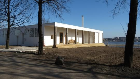 The public sauna Kulttuurisauna in Merihaka, Helsinki, on its way to be finished. Made for 40 persons.