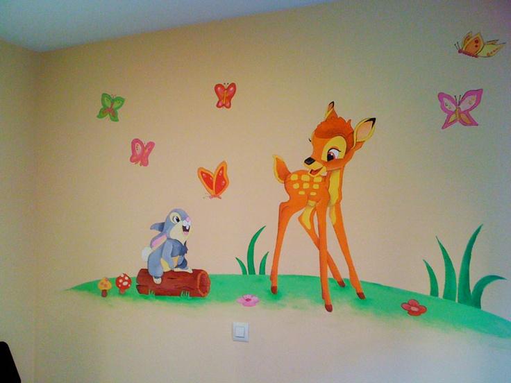 Mural infantil para cuarto de bebe bambi y tambor y for Murales habitacion bebe