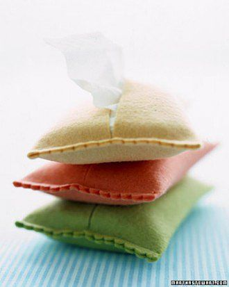 Tissue Covers: Make colorful tissue paper covers from felt. Source: Martha Stewart
