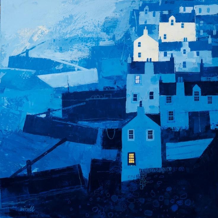 Blue Harbour - George Birrell, mixed media, 50 x 50 cm, £2450. #11385