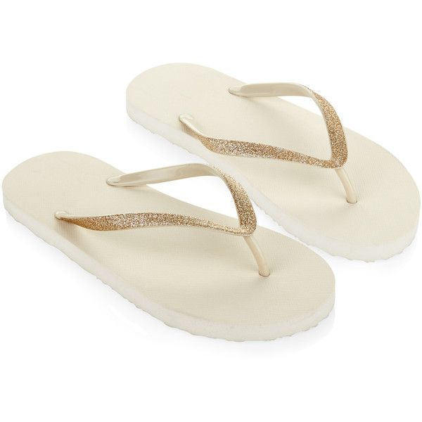 Monsoon Glitter Thong Eva Flip Flops ($14) ❤ liked on Polyvore featuring shoes, sandals, flip flops, strappy sandals, glitter flat shoes, strappy flip flops, glitter flip flops and strap shoes