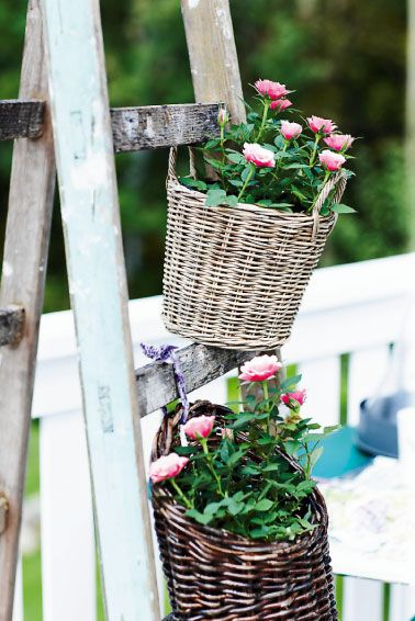 DIY Plant Stand - Repurpose old ladders into the perfect plant stand for your garden. Hang flower baskets for an adorable country-chic look.