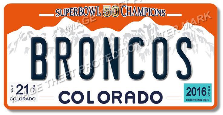 Denver BRONCOS NFL Super Bowl 50 Champions Football License Plate Tag New #2