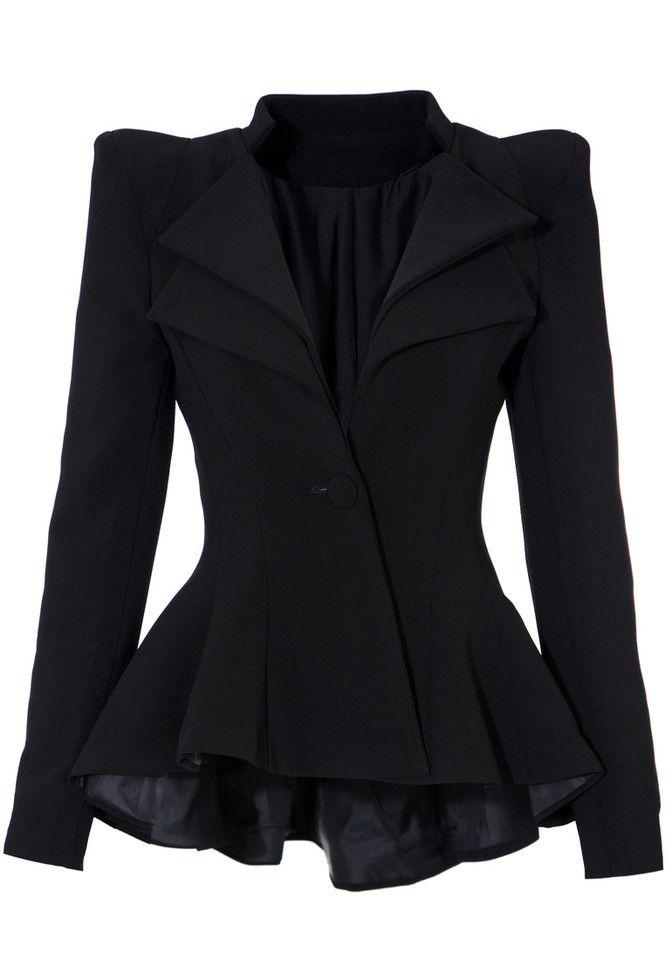 Double Lapel Fit-and-flare Blazer - Black - Ultra Chic Cotton Blazer