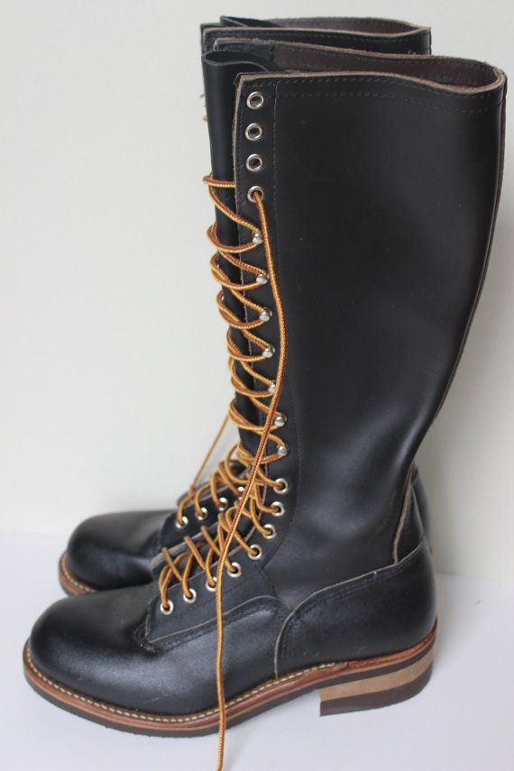 Karl Kuemmerling Lineman Boots Tall Black Leather Lace Up