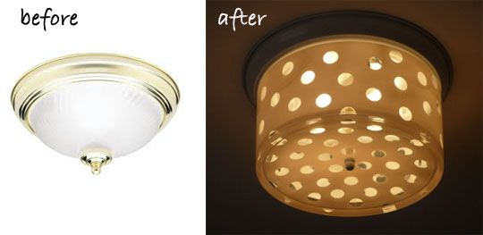Oh, the ceiling light we love to hate, the flush mount fixture that only a contractor could love. The good news is that these builders' delights are very easy to makeover because when you unscrew the center, um, nipple, the glass slides right off, and you're left with a threaded rod you can attach almost anything to. Here's a truly inspiring makeover we love. You'll never guess what it's made of!