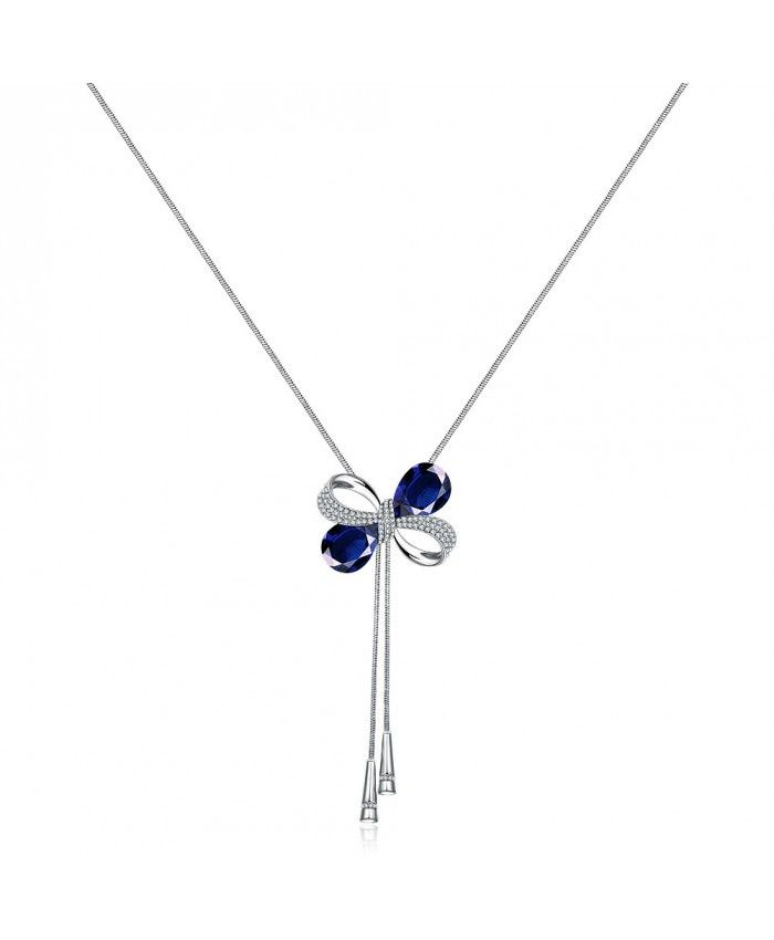 Ouruora Bowknot With Blue Petals Chain Necklace